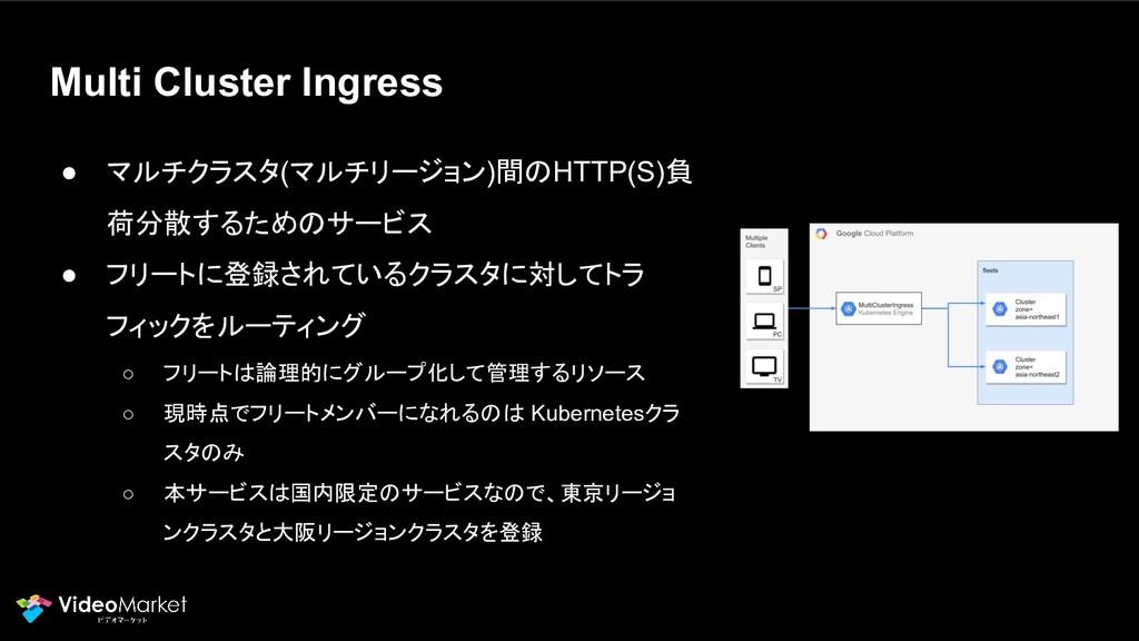 Multi Cluster Ingress ● マルチクラスタ(マルチリージョン)間のHTTP...