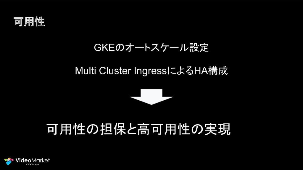 可用性 GKEのオートスケール設定 Multi Cluster IngressによるHA構成 ...