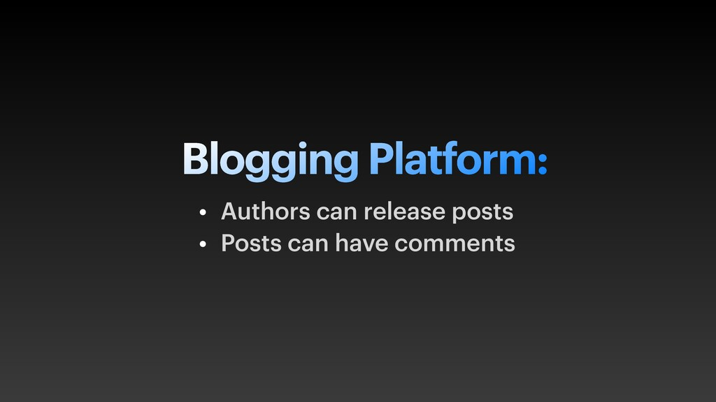 Blogging Platform: • Authors can release posts ...