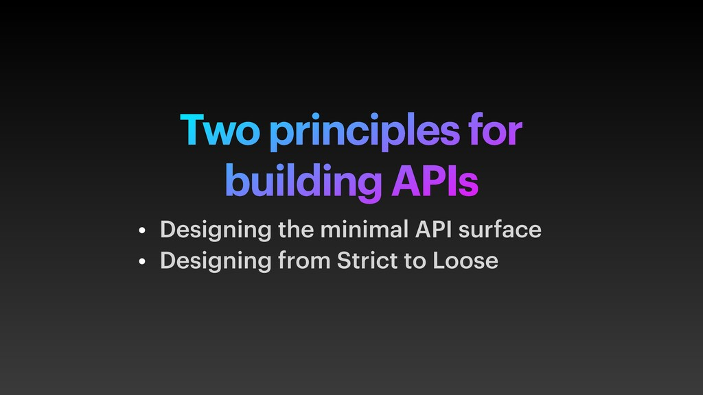 Two principles for building APIs • Designing th...