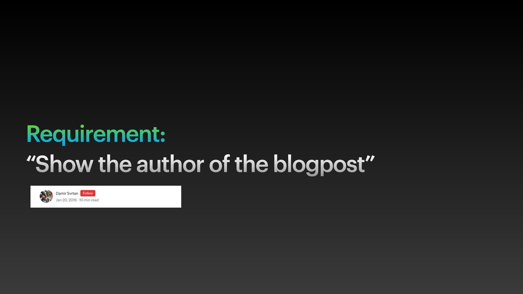 """Requirement: """"Show the author of the blogpost"""""""