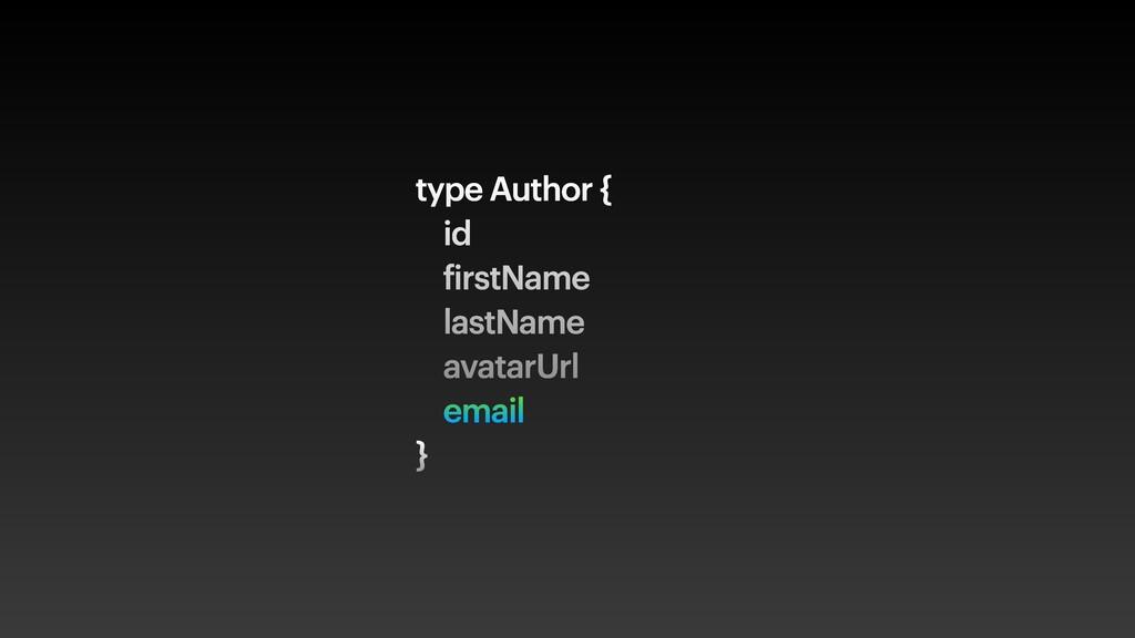 type Author { id firstName lastName avatarUrl e...