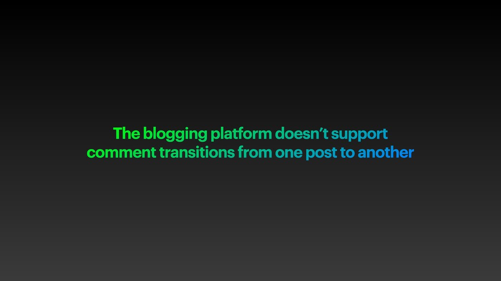 The blogging platform doesn't support comment t...