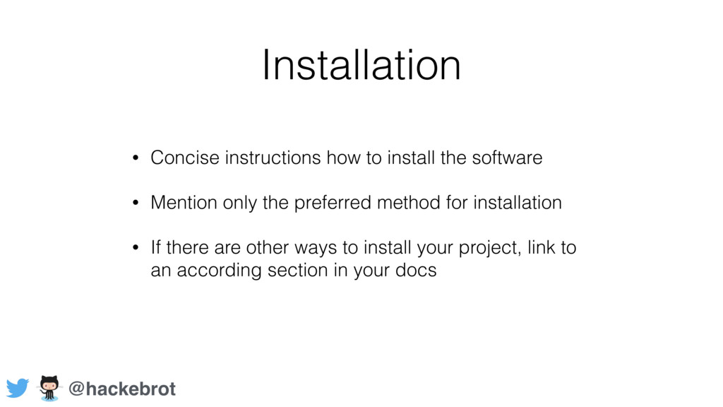 Installation • Concise instructions how to inst...