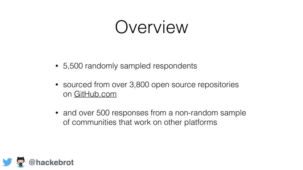 Overview • 5,500 randomly sampled respondents •...
