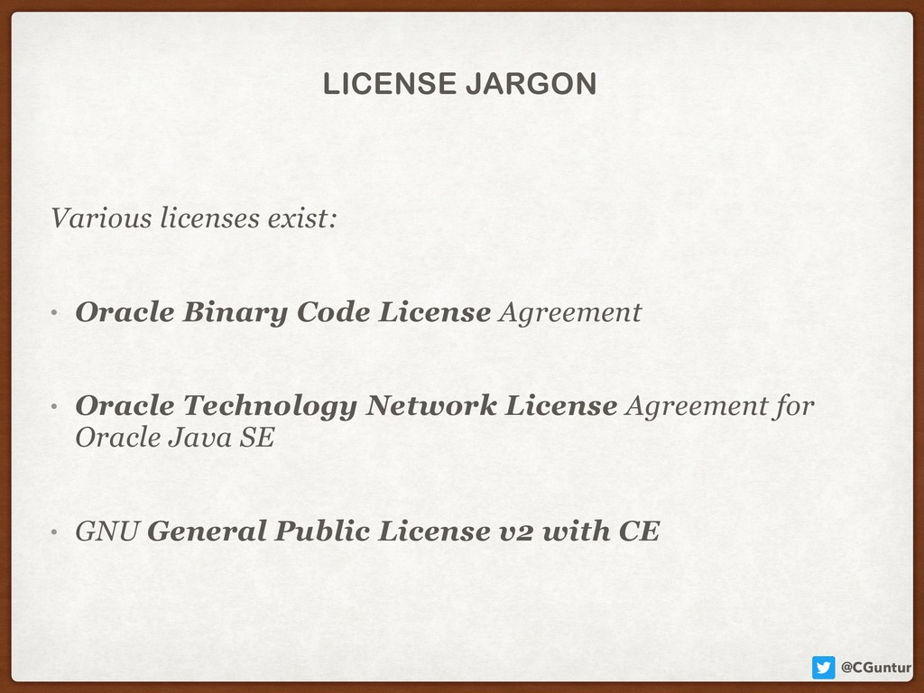 @CGuntur LICENSE JARGON Various licenses exist:...