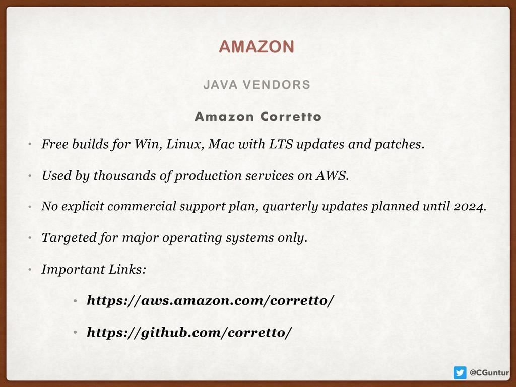 @CGuntur JAVA VENDORS AMAZON • Free builds for ...