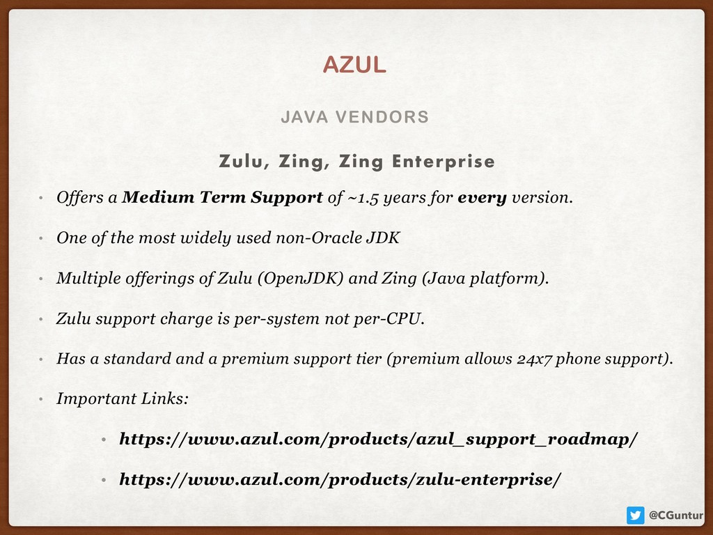 @CGuntur JAVA VENDORS AZUL • Offers a Medium Te...