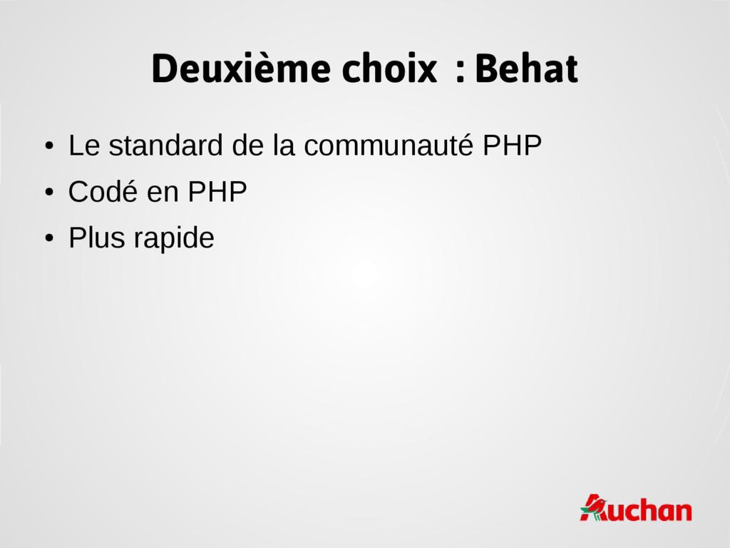 Deuxième choix : Behat ● Le standard de la comm...