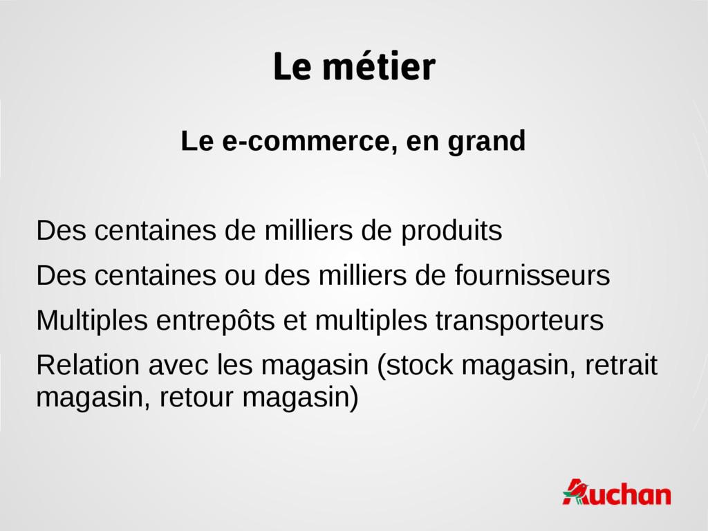 Le métier Le e-commerce, en grand Des centaines...