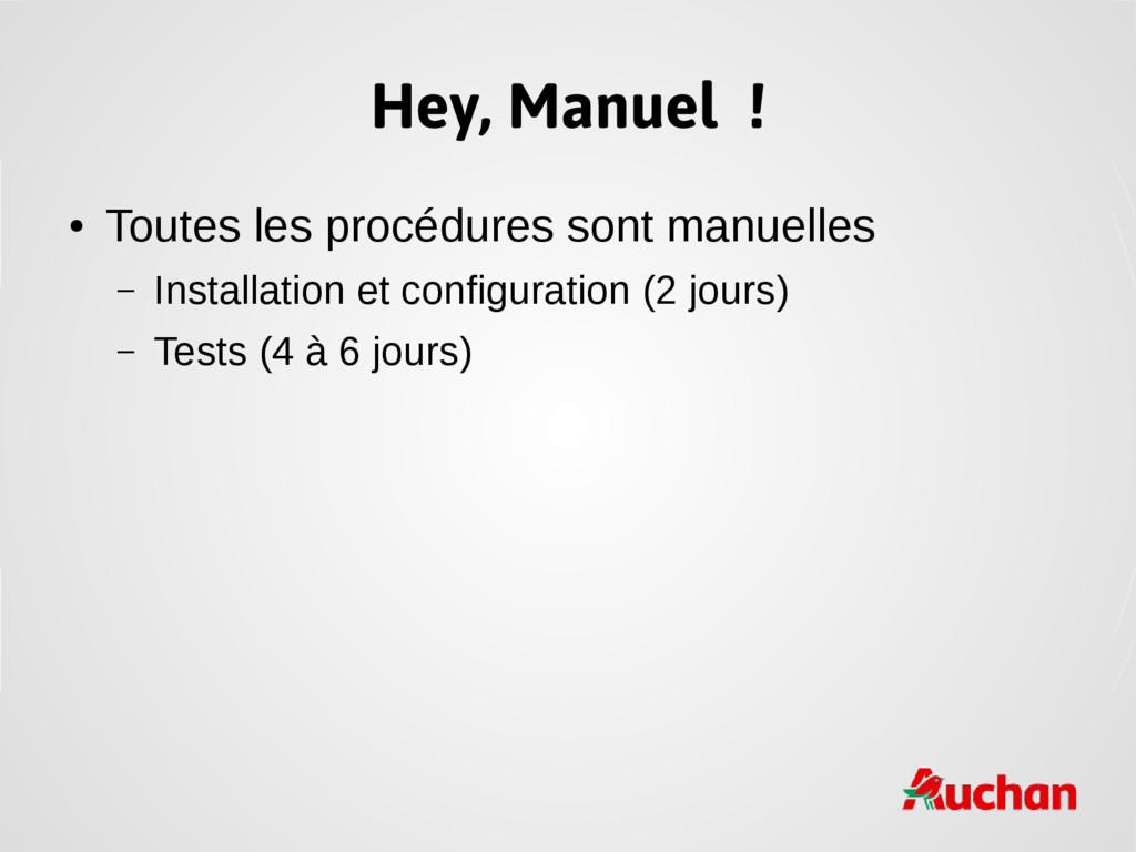 Hey, Manuel ! ● Toutes les procédures sont manu...