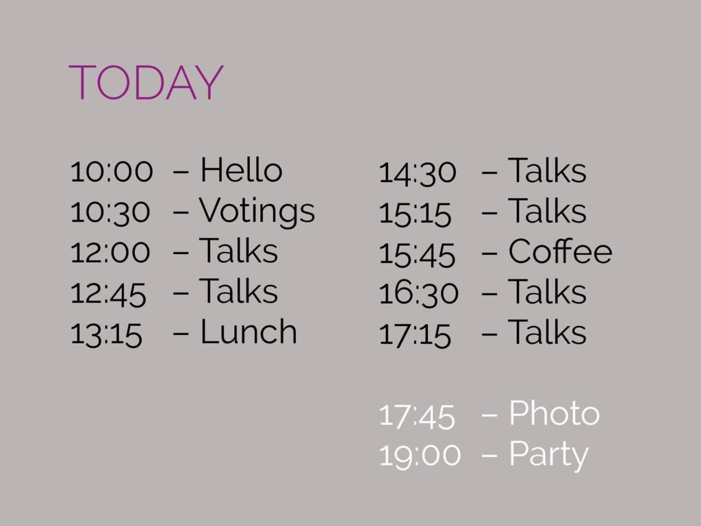 10:00 – Hello 10:30 – Votings 12:00 – Talks 12:...