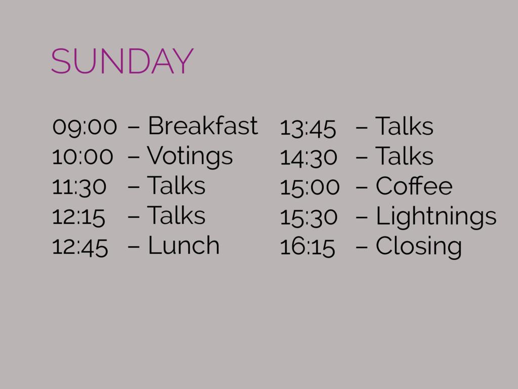 09:00 – Breakfast 10:00 – Votings 11:30 – Talks...