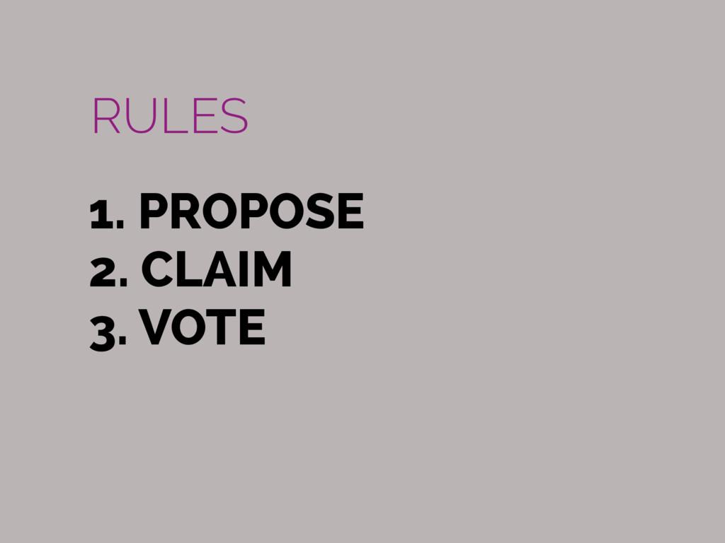 1. PROPOSE 2. CLAIM 3. VOTE RULES