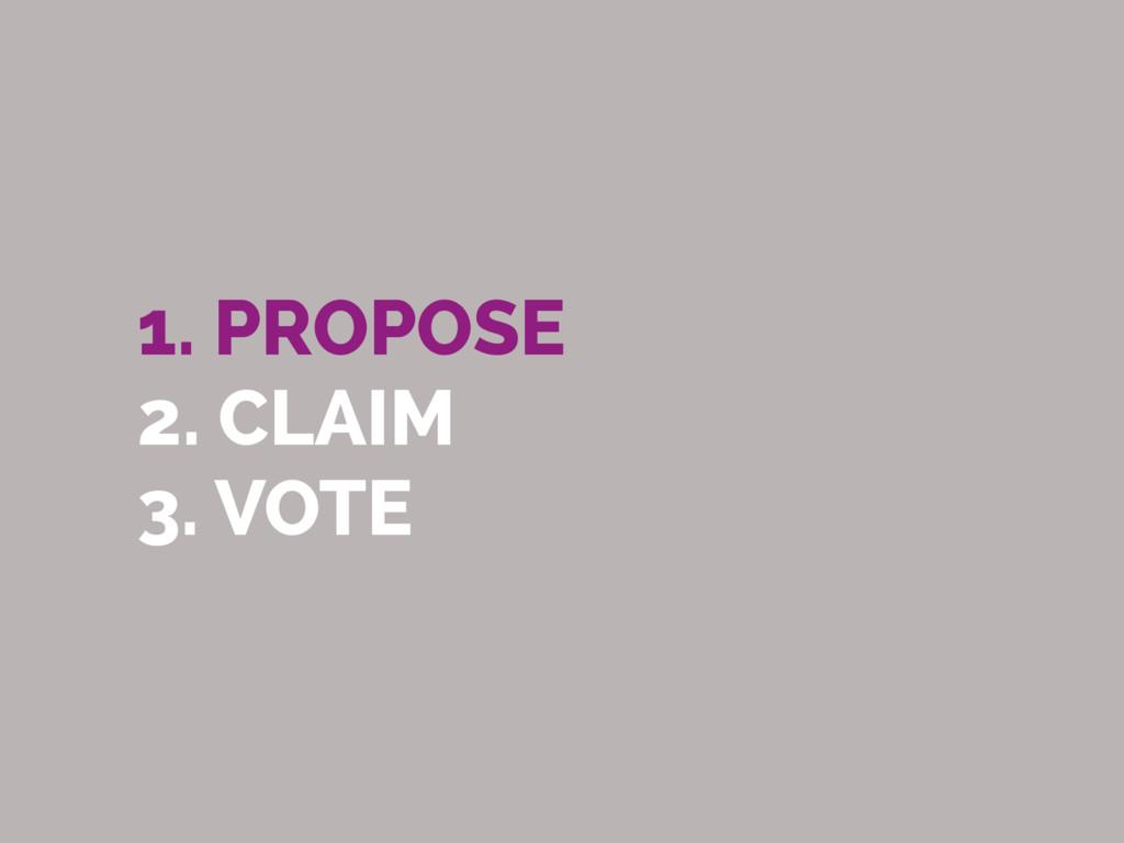 1. PROPOSE 2. CLAIM 3. VOTE