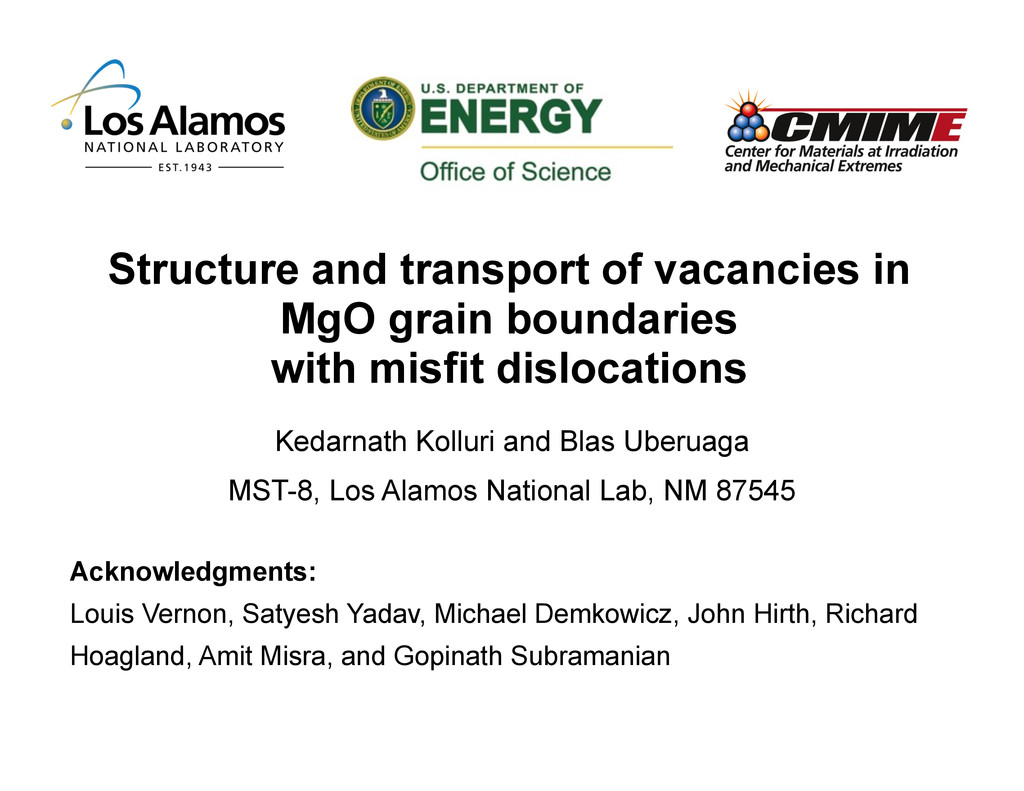 Structure and transport of vacancies in MgO gra...
