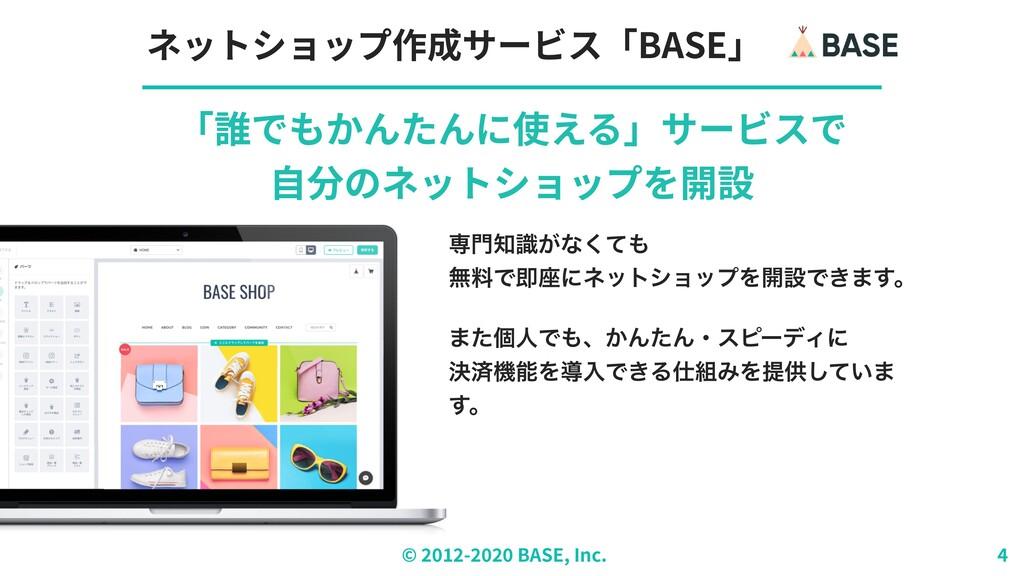 © ︎ 2 0 1 2 - 2 0 2 0 BASE, Inc. ネットショップ作成サービス「...