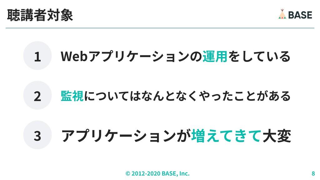 © ︎ 2 0 1 2 - 2 0 2 0 BASE, Inc. 8 Webアプリケーションの...
