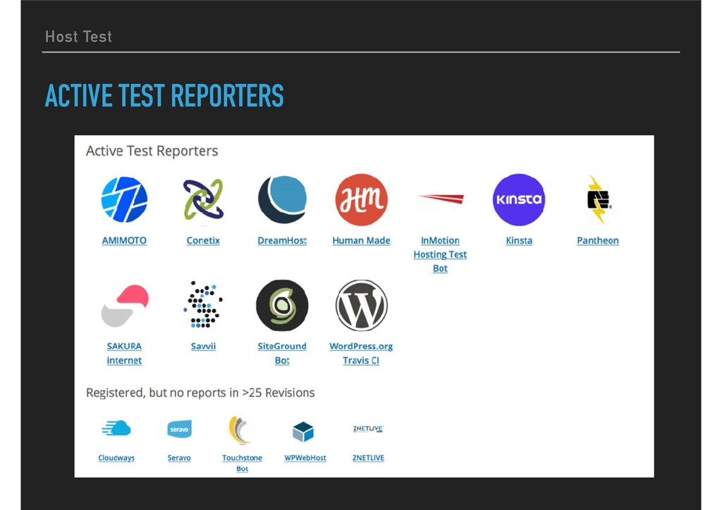 Host Test ACTIVE TEST REPORTERS