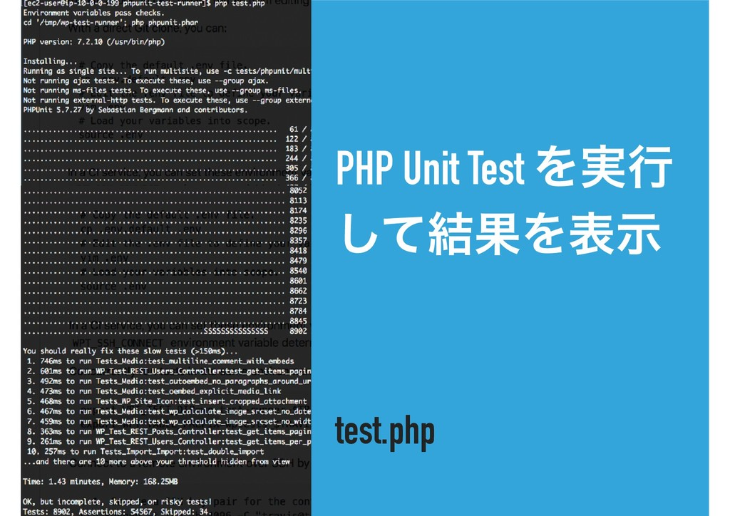 PHP Unit Test Λ࣮ߦ ͯ݁͠ՌΛදࣔ test.php
