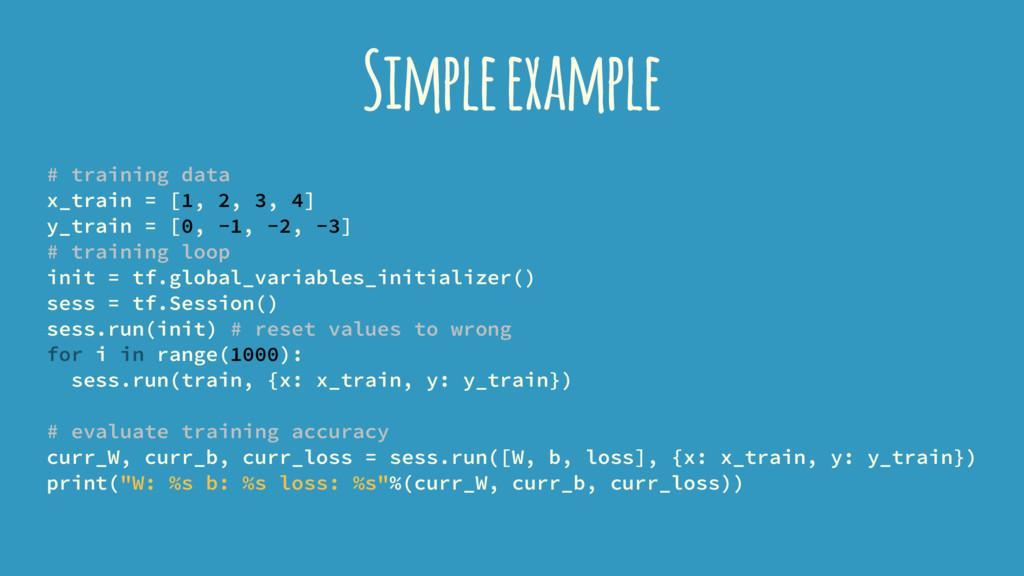 Simple example # training data x_train = [1, 2,...