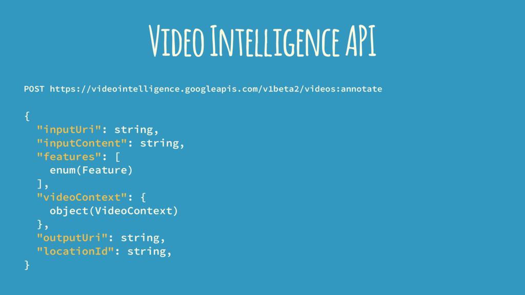 Video Intelligence API POST https://videointell...