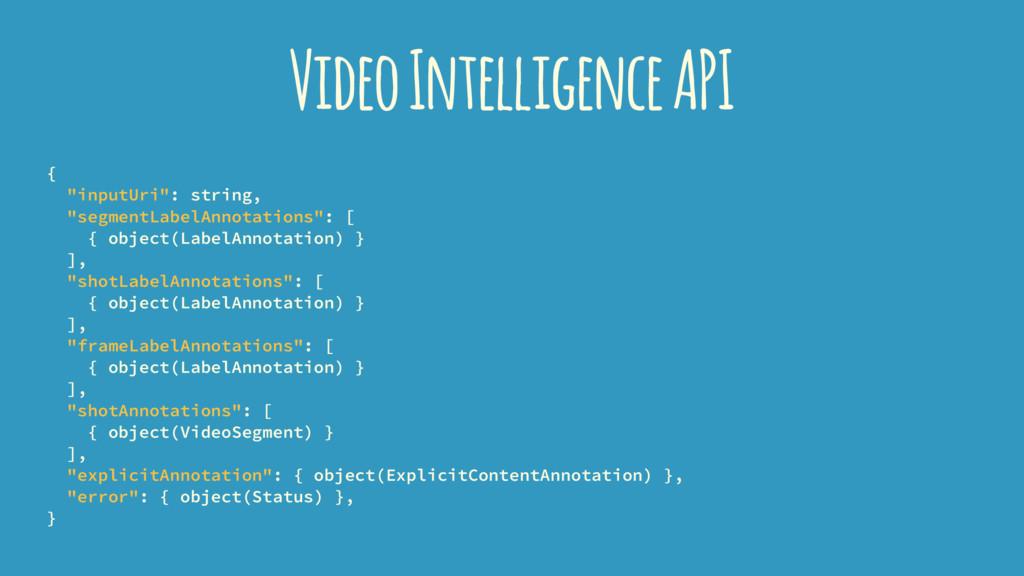 "Video Intelligence API { ""inputUri"": string, ""s..."