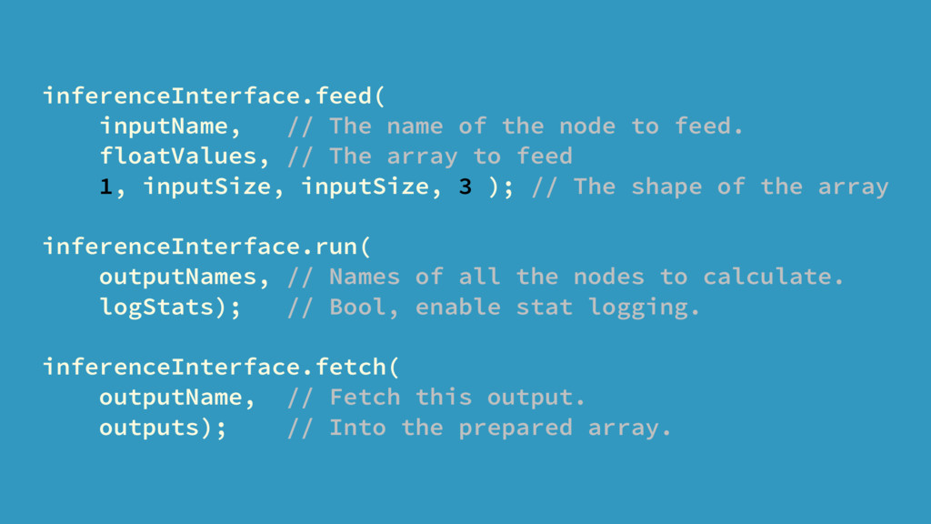 inferenceInterface.feed( inputName, // The name...