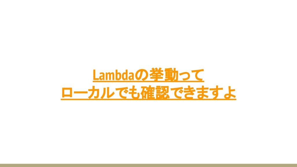 Lambdaの挙動って ローカルでも確認できますよ
