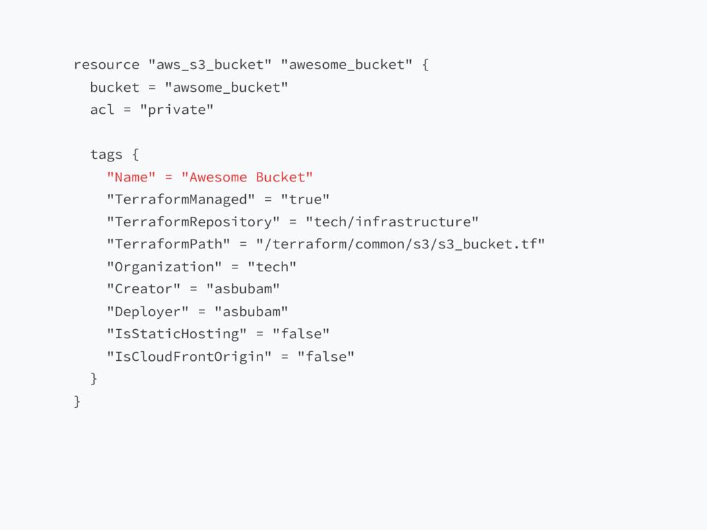 """resource """"aws_s3_bucket"""" """"awesome_bucket"""" { buc..."""