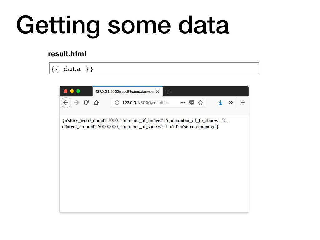 {{ data }} result.html Getting some data