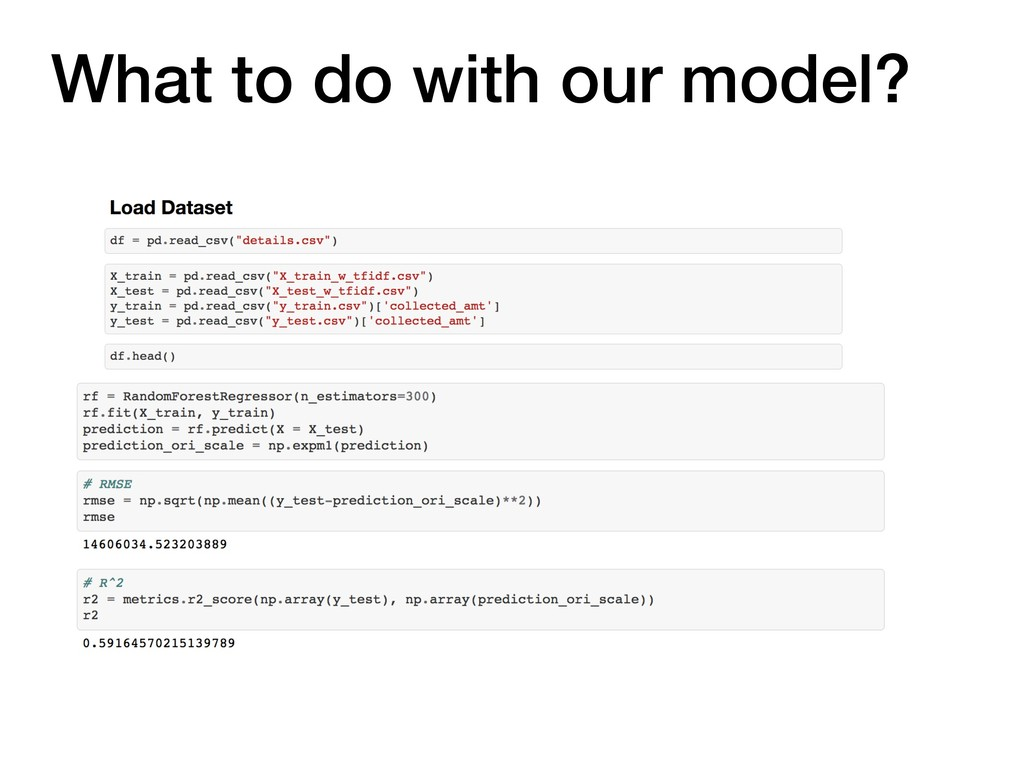 What to do with our model?