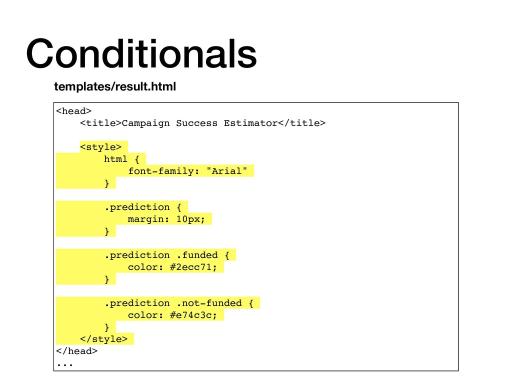 Conditionals <head> <title>Campaign Success Est...