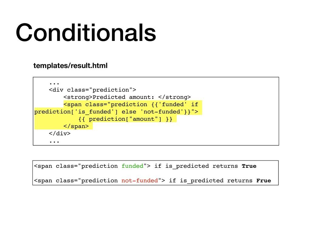 """Conditionals ... <div class=""""prediction""""> <stro..."""