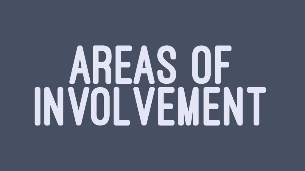 AREAS OF INVOLVEMENT