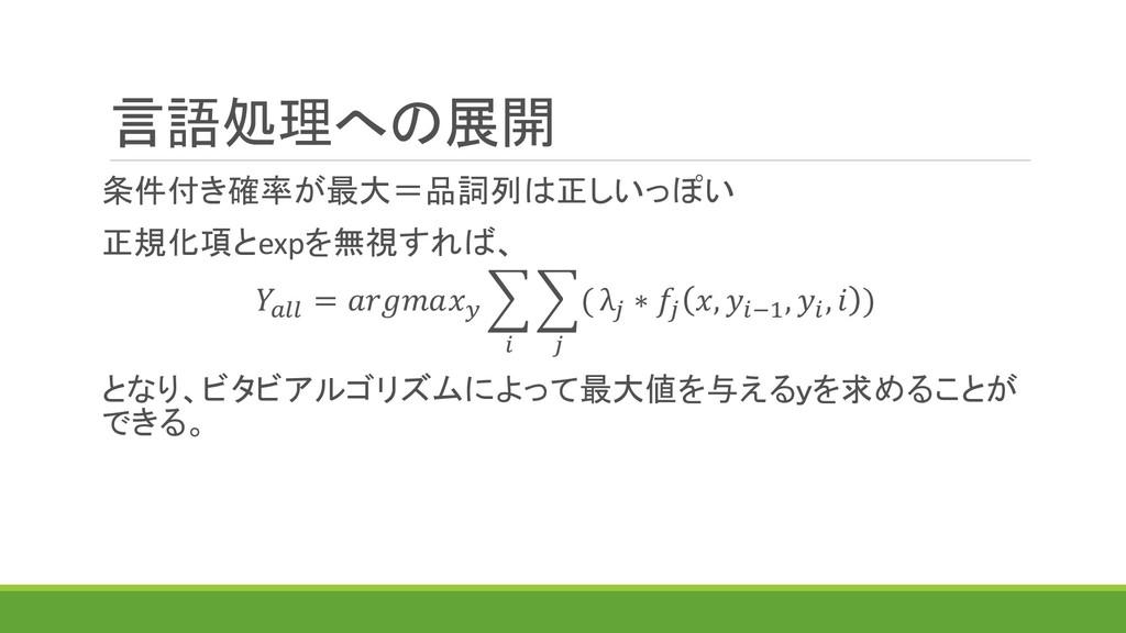 言語処理への展開 条件付き確率が最大=品詞列は正しいっぽい 正規化項とexpを無視すれば、  ...