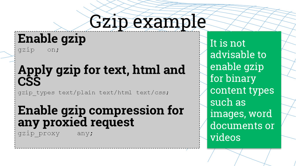 Gzip example Enable gzip gzip on;   Apply gz...