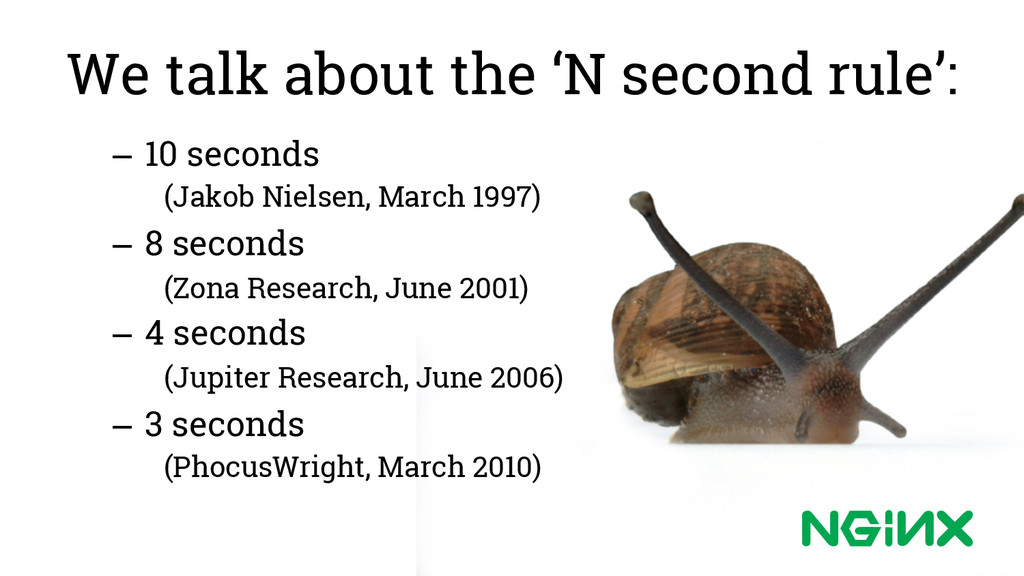 We talk about the 'N second rule': – 10 second...
