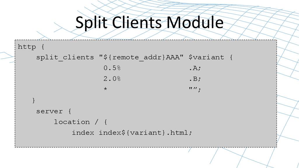Split Clients Module  http { split_cli...