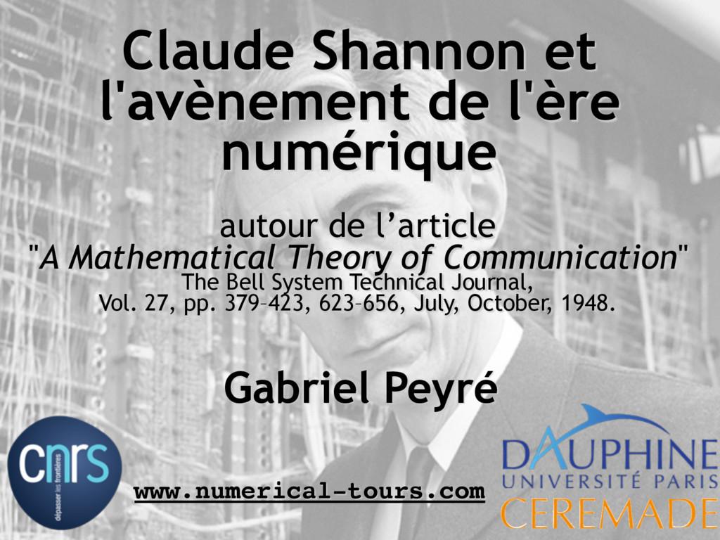 Gabriel Peyré www.numerical-tours.com autour de...