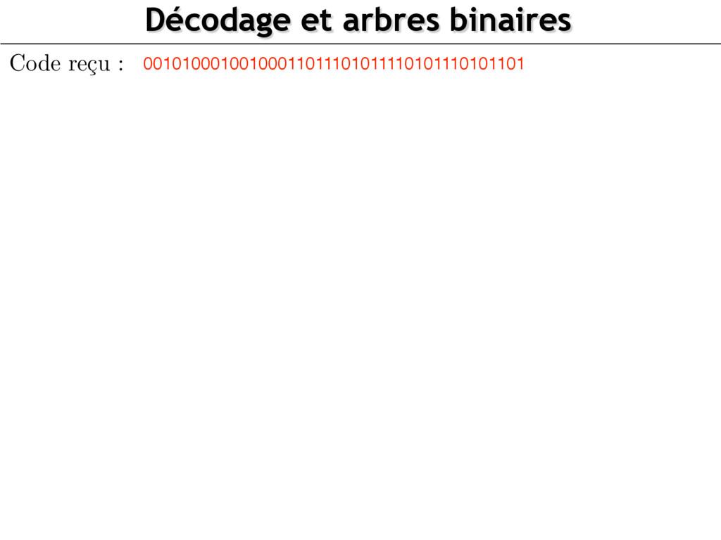 Décodage et arbres binaires 0010100010010001101...
