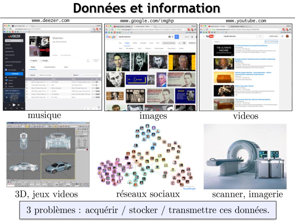 Données et information 3D, jeux videos r´ eseau...