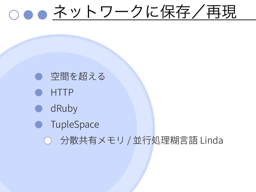 ωοτϫʔΫʹอଘʗ࠶ݱ HTTP dRuby TupleSpace / Linda