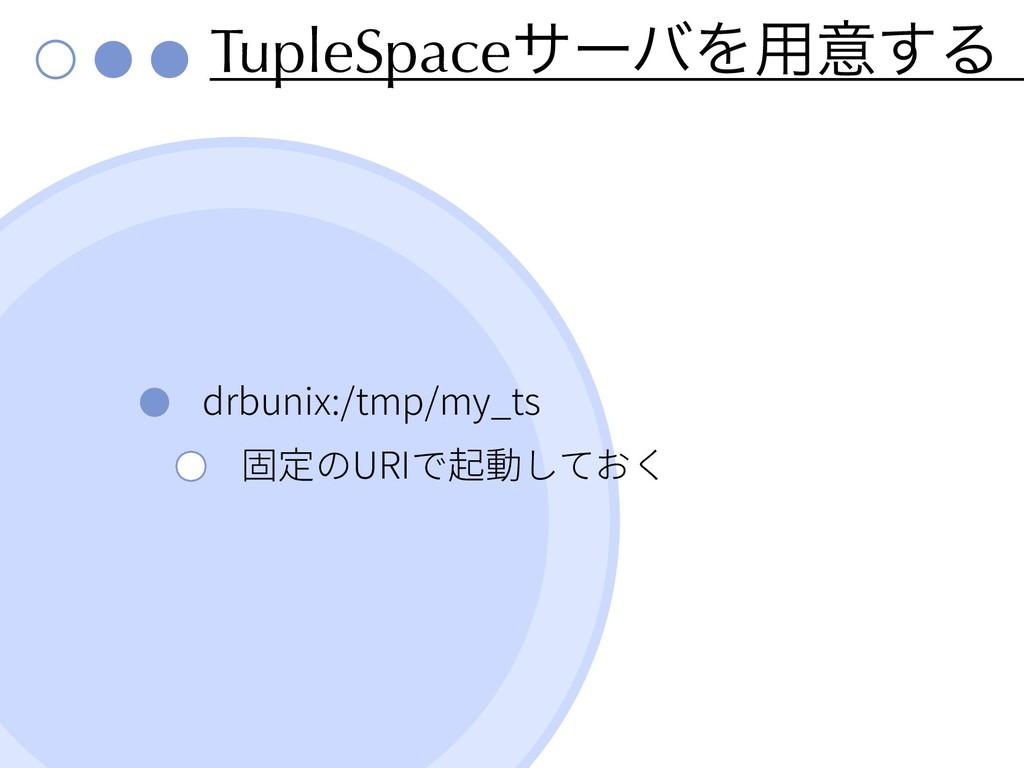 TupleSpaceαʔόΛ༻ҙ͢Δ drbunix:/tmp/my_ts URI
