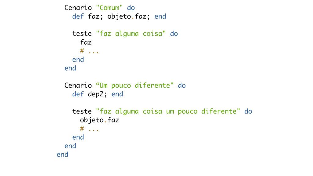 """Cenario """"Comum"""" do def faz; objeto.faz; end tes..."""