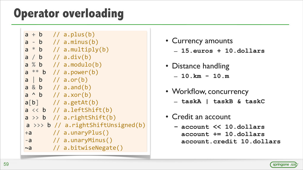 Operator overloading • Currency amounts – 15.eu...