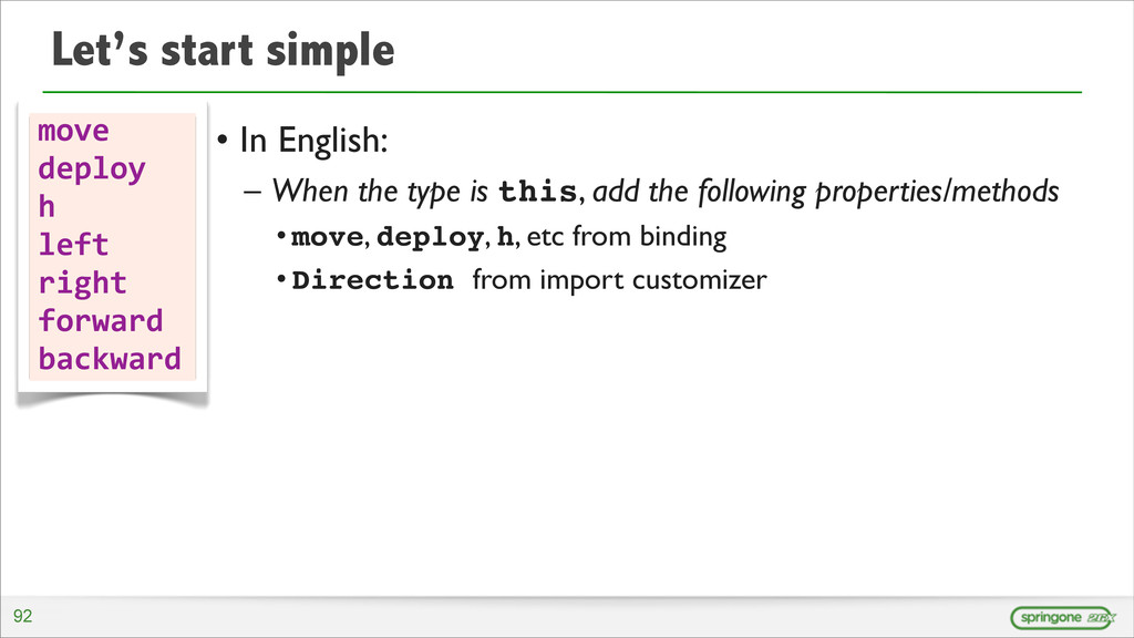 Let's start simple • In English: – When the typ...