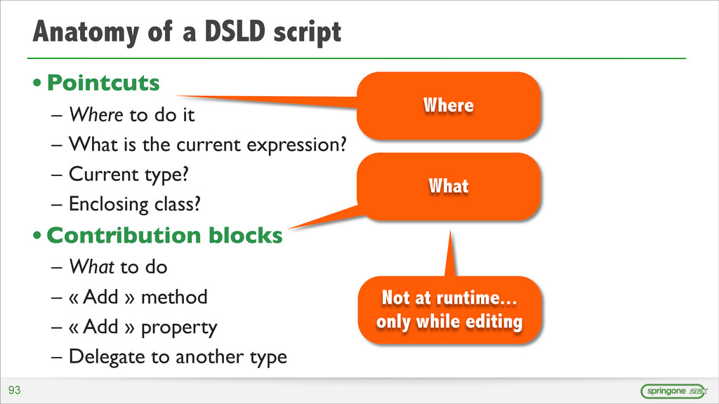 Anatomy of a DSLD script •Pointcuts – Where to ...