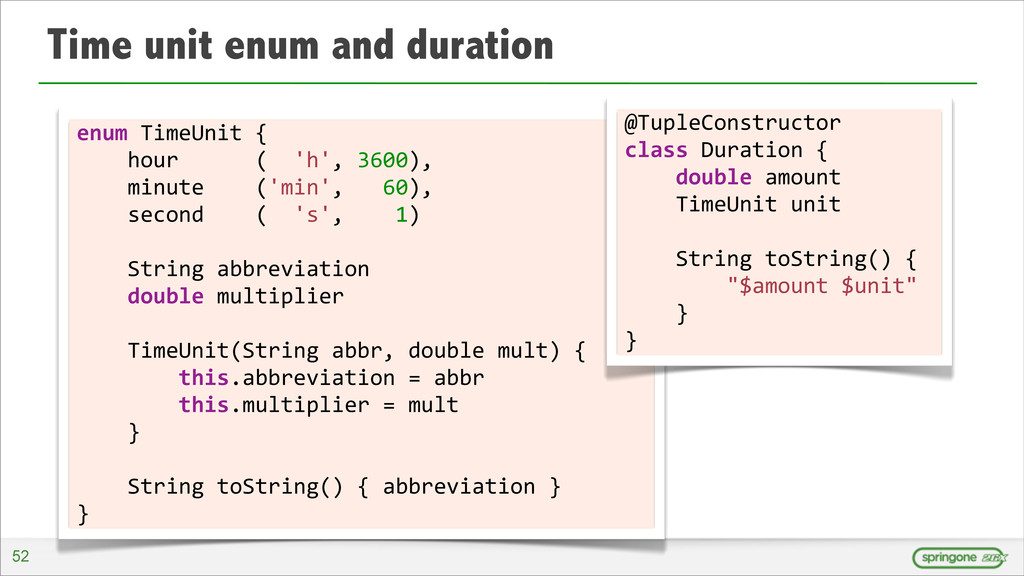 Time unit enum and duration 52 enum	