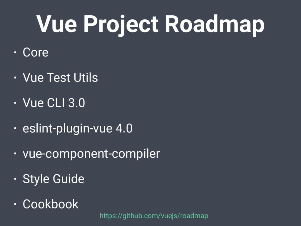 • Core • Vue Test Utils • Vue CLI 3.0 • eslint-...